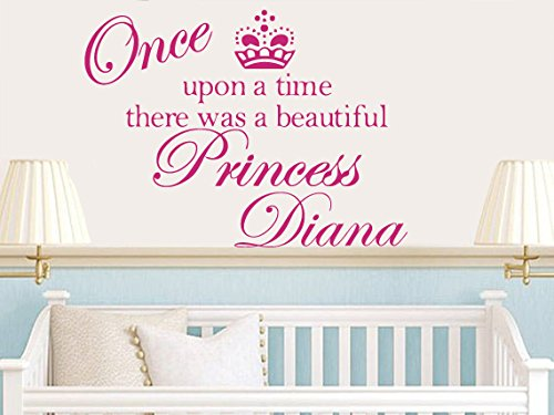 Wall Decal Vinyl Sticker Decals Art Decor Sign Once Upon A Time Princess Custom Name Baby Crown Pattern Children Mural Kids Nursery (R556) front-924601