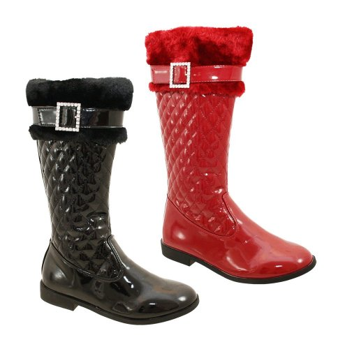 Girls Black Or Red Patent Quilted Fur Diamante Buckle Riding Boots Sizes UK 10-3