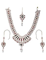 Bel-en-teno Red & Green Alloy Necklace Set For Women - B00PY9YRWO
