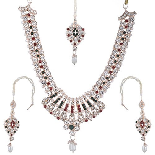 Bel-en-teno Red & Green Alloy Necklace Set For Women - B00PY9YRWO