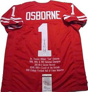Tom Osborne Autographed Signed Nebraska Cornhuskers Jersey