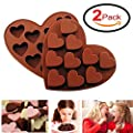 Silicone Chocolate Molds Candy Mold - DefenderX Ice Cube DIY Baking Trays Heart Shaped Jelly Pan 10-Cavity (Heart 2pcs),Brown