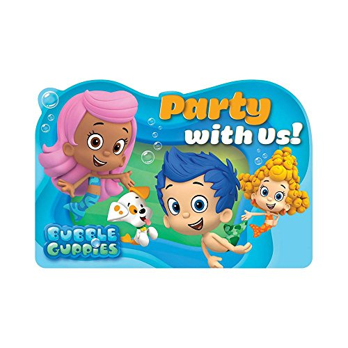 "Amscan Aqua Awesome Bubble Guppies Birthday Party Postcard Invitations, 6 x 4"", Aqua Blue"