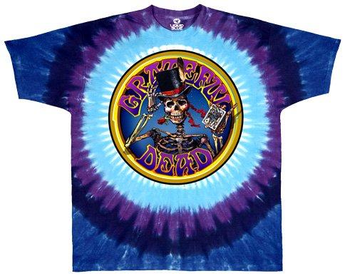 Liquid Blue Men's Grateful Dead Queen Of Spades Short Sleeve T-Shirt,Multi,X-Large Spades Tie Dye T-Shirt