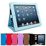 Snugg iPad 4 & iPad 3 Executive Leather Case in Baby Blue - Flip Stand Cover with Card Slots, Pocket, Elastic Hand Strap and Premium Nubuck Fibre Interior - Automatically Wakes and Puts the Apple iPad 4 & 3 to Sleep