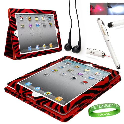 Red Zebra iPad Skin Cover Case Stand with Screen Flap and Sleep Function for all Models of Apple iPad (3rd Generation, wifi , + AT&T 3G , 16 GB , 32GB , MD328LL/A , MD329LL/A , MD330LL/A, ect..) + Compatible Black iPad earbud Earphones with Noise reduction + Custom iPad Anti Glare Screen Protector + Live * Laugh * Love Vangoddy Trademarked Wrist Band + Multifunctional iPad Stylus with Laser Pointer & LED Light *Batteris INCLUDED*