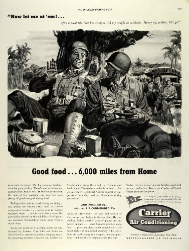 1942 Ad World War II Effort Soldiers Refrigerated Food Carrier Air Conditioning - Original Print Ad