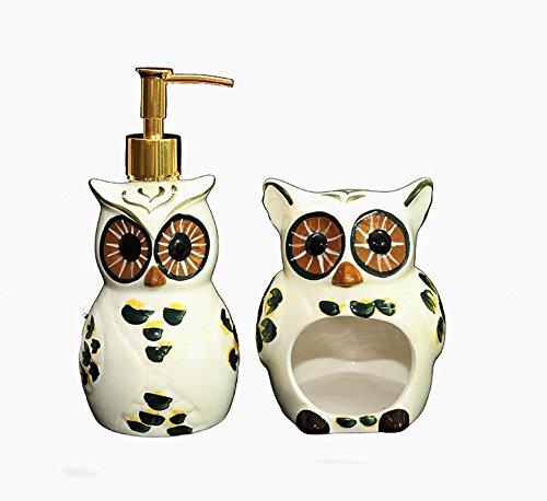 Tuscany Cute Green Owl, Ceramic Kitchen, Brillo Scouring Pag and Soap Dispenser, 84488/89 by ACK (Wine Kitchen Soap Dispenser compare prices)