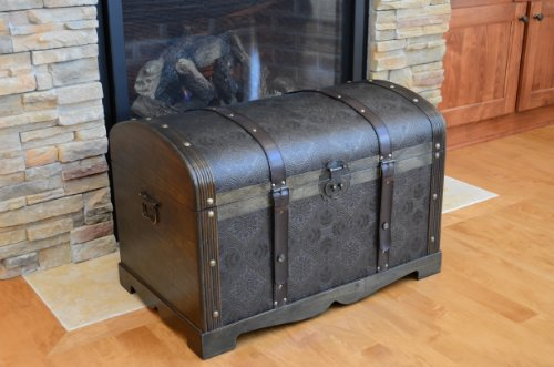 Round Top Large Victorian Steamer Trunk Wooden Treasure Hope Chest