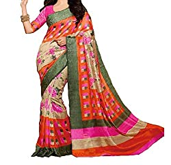 RGR Enterprice Woman's Bhagalpuri Designer Saree (Rashmi Flower_Multi-Coloured_Free Size)