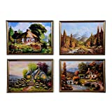 Orchard Eva Hanging Picture With Golden Frame - 774 (set Of 4)