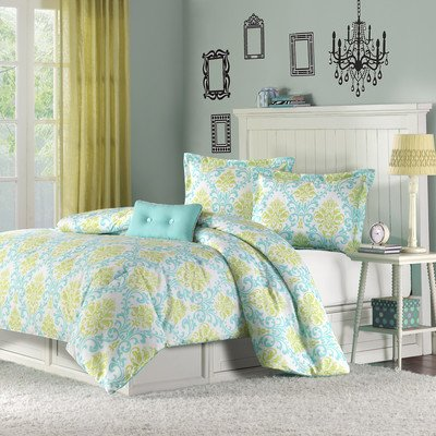 Katelyn Printed Comforter Set Size: Full/Queen, Color: Teal