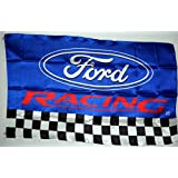 FORD RACING FLAG, 3'x5' Blue w/ Black & White Checkerboard banner