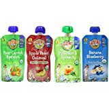 Earth's Best Organic Baby Food 4 Pouch Flavor Variety Bundle: (1) Earth's Best Organic Banana Blueberry, (1) Earth's Best Organic Pear Carrot Apricot, (1) Earth's Best Organic Pumpkin & Spinach, and (1) Earth's Best Organic Apple Peach Oatmeal 3.5 - 4.2 Oz. Ea. (4 Pouches Total)