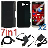 GTMax 7-in-1 Combo Accessories Bundle Kit for Motorola DROID RAZR M XT907 (Verizon) [ Silicone & Pouch Case,Screen Protectors, Car & Wall Chargers, USB Data Cable ]