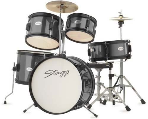 stagg-tim-jr-5-16-bk-5-piece-16-inch-junior-drum-set-with-hardware-black