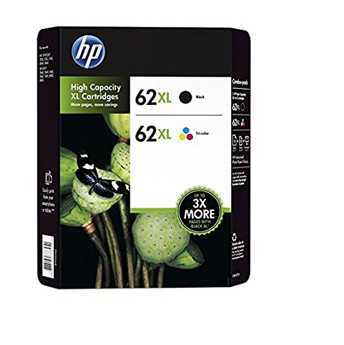 genuine hp 62xl black and color inkjet cartridges in retail combo pack office store. Black Bedroom Furniture Sets. Home Design Ideas