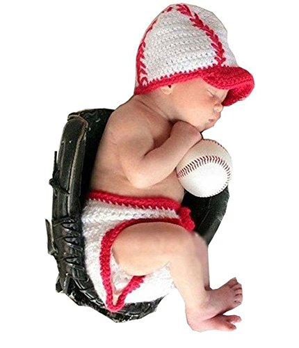 Cx-queen® Newborn Baby Baseball Sports Infant Crochet Handmade Beanie Hat Caps Props