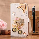 M LV Samsung Galaxy Star Pro GT-S7262 Leather Diamond Bling crystal Folio Support Smart Case Cover With Card Holder & Magnetic Flip Horizontals - Bike and Kitty Cat Flower