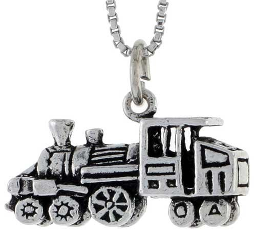 Sterling Silver Loco Motive Train Pendant, 7/16 in. (11mm) tall