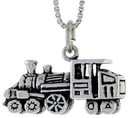 Sterling Silver Loco Motive Train Pendant, 7/16 in. (11mm) tall