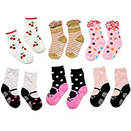 Lystaii 6 Pairs Cute Cotton Non-skid Socks 12-15cm for 1-3 Years Baby Toddler