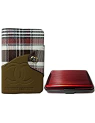 Apki Needs Long Brown Mens Wallet & Red Colored Credit Card Holder Combo