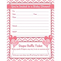 Girl Baby Shower Invitations with Diaper Raffle Ticket (Set of 25 with Envelopes)