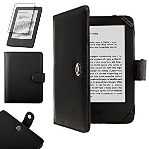 TECHGEAR® Black Kindle PU Leather Folio Case Cover With Magnetic Clasp for Amazon Kindle eReader with 6 inch Screen [Book Style] **WITH FREE SCREEN GUARD INCLUDED**