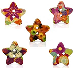 50 Wooden Star Shaped Painted Buttons Mixed Designs