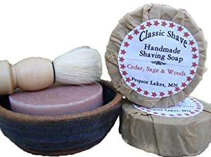 Cedar Sage and Woods Scented Hand Made Shaving Herbal Bar Soap by All Things Herbal