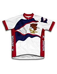 American Samoa Flag Short Sleeve Cycling Jersey for Women