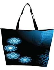 Snoogg Abstract Blue Black Pattern Designer Waterproof Bag Made Of High Strength Nylon