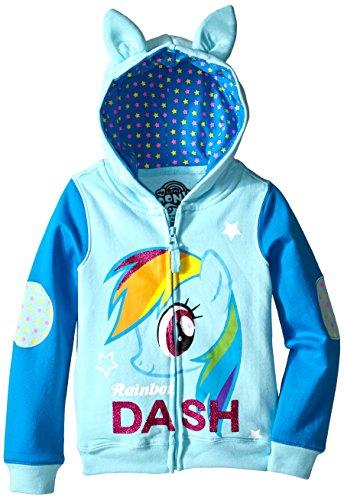 [My Little Pony Little Girls' Rainbow Dash Hoodie, Light Blue/Blue, 5/6] (Super Nerd Costume)
