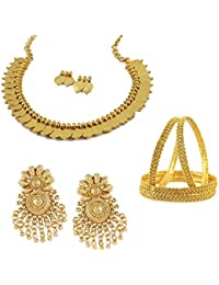 MUCH MORE Signature Collection Golden Jewelry Combo Of Necklace Set With Earrings, Earrings & Bangles For Women