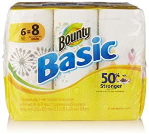 Bounty Basic Big Roll Paper Towels, Prints, 6 Count