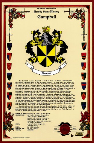 Campbell Coat Of Arms/Crest And Family Name History, Meaning & Origin Plus Genealogy/Family Tree Research Aid To Help Find Clues To Ancestry, Roots, Namesakes And Ancestors Plus Many Other Surnames At The Historical Research Center Store front-845937