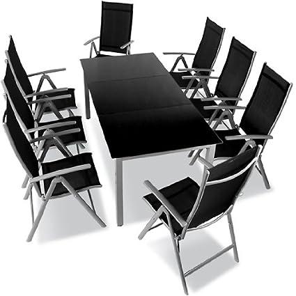9-teilige Gartengarnitur Alu Sitzgarnitur, Sitzgruppe mit Glastisch, komfortable Aluminium Gartenmöbel hellgrau