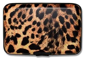 Leopard Print Metal Business Credit Card Holder Case Snap Open