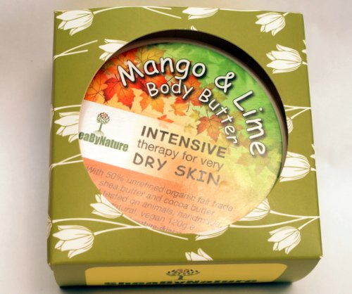 Mango and Lime Shea Butter Body Butter with Organic Unrefined, Fairly Traded Shea Butter and Mango Seed Butter. Intense Hydration for Dry Skin (160ml) from SheaByNature