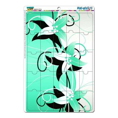 Graphics And More Flowers Design Blue Breen Turquoise Mag-Neato'S Novelty Gift Locker Refrigerator Vinyl Puzzle Magnet Set front-575805