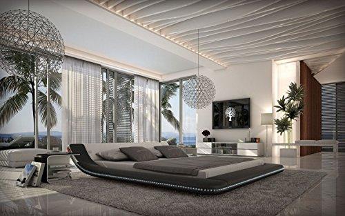 Designerbett Custo Schwarz/weiß 180x200 cm Doppelbett Futonbett Bett Polsterbett Kunstleder