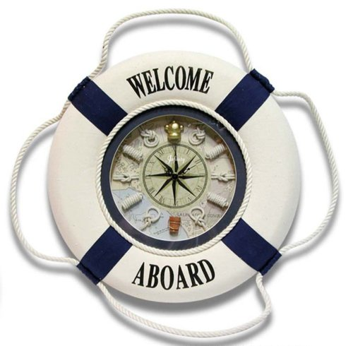 Infinity Instruments First Mate Life Ring w/Rope Knot Accents Wall Clock