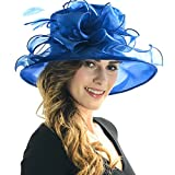 Women Satin Church Christening Derby Kentucky Wedding Formal Party Hat Ss035 (9 Colors) (Royal blue)