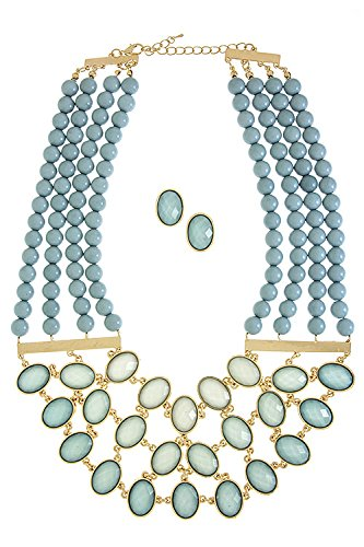 Contempo Couture Faceted Oval Faux Gem Bib Necklace Set (Baby Blue) front-585963