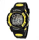 KANO BAK Boy girl Child Kids Student Digital LED Quartz Alarm Sports Waterproof christmas Watch Yellow