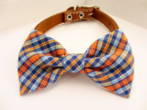Dog or Cat Slide on Handcrafted Bow Tie Collar Accessory - Orange and Blue Cutting on Bias