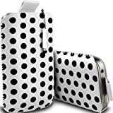 ONX3 HTC One V White Polka Dot PU Leather Pull Tab Protective Pouch Case + White High Capacitive Mini Stylus Pen