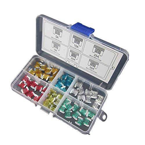 DIGITEN assortiti Auto Micro Mini fusibili 5A, 10A 15A 25A 30A 20A, a basso profilo (confezione da 60)