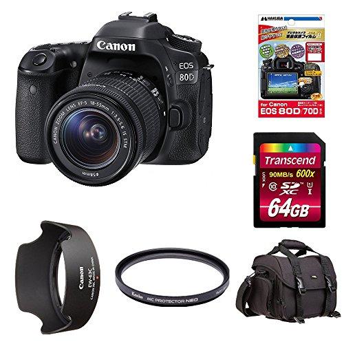 Canon デジタル一眼レフカメラ EOS 80D レンズキット EF-S18-55mm F3.5-5.6 IS STM 付属 + Amazonベーシック ショルダーバッグ 他4点セット